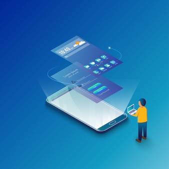 モックアップモバイルアプリケーションのコンセプト等尺性デザイン。