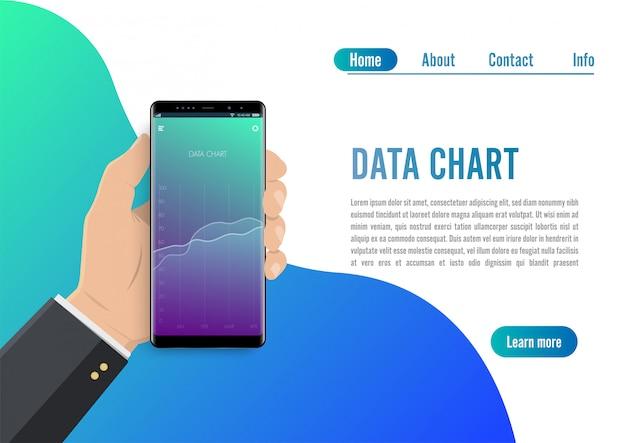 折れ線グラフとスマートフォンの市場動向分析。