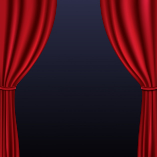 背景に折り畳まれた現実的なカラフルな赤いベルベットのカーテン
