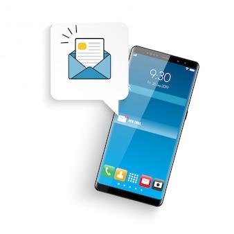 Новый реалистичный мобильный смартфон в современном стиле