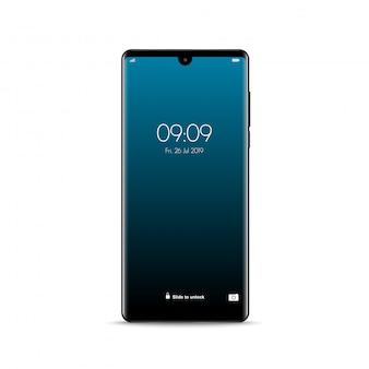 新しい現実的なモバイルブラックスマートフォンモダンなスタイル。分離されたスマートフォン。
