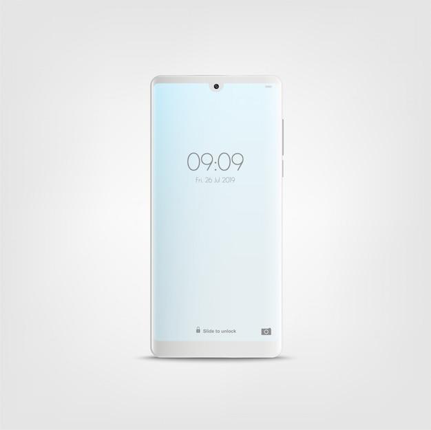 新しい現実的なモバイルホワイトスマートフォンモダンなスタイル。白で隔離のスマートフォン。
