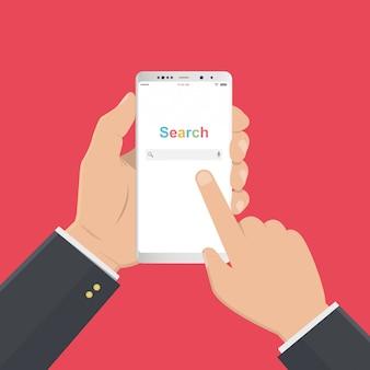 に分離された画面上の検索ブラウザーウィンドウとスマートフォンを持っているビジネスマン手。フラット図