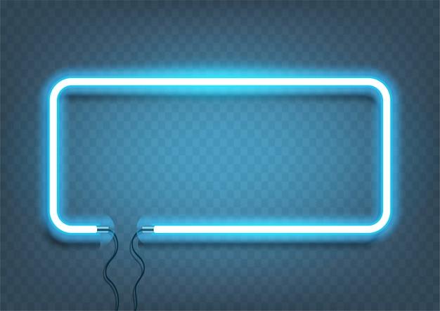 Неон прямоугольник лампа настенный знак, изолированные на прозрачный