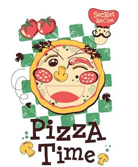 ピザ漫画ベクトル