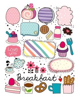 朝食バルーンベクトル