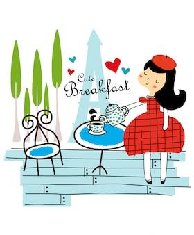 かわいい朝食ベクトル