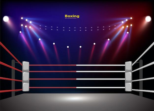 Боксерский ринг арены и освещение прожекторов