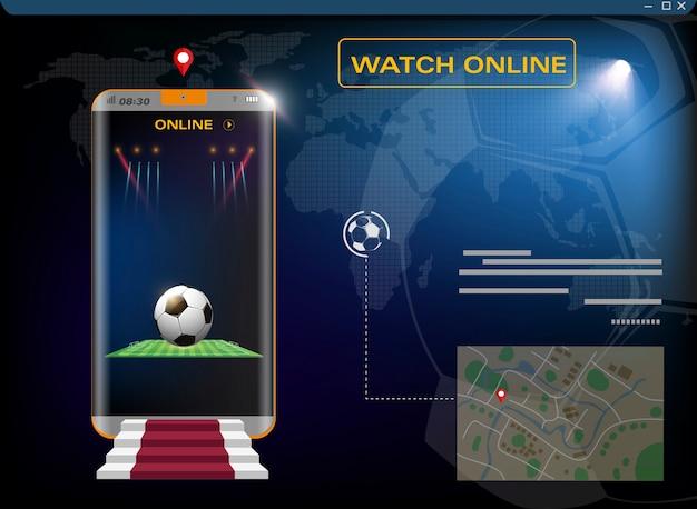 モバイルサッカー。スマートフォンの画面とボールのフットボール競技場。