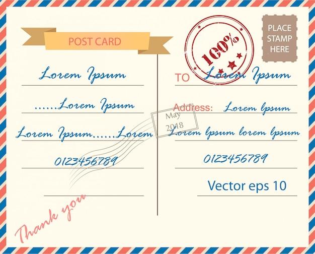 ヴィンテージポストカードの背景ベクトルテンプレート