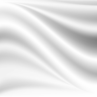 白いサテンの絹のような布生地のドレープは、波状の折り目で折ります。抽象的な背景