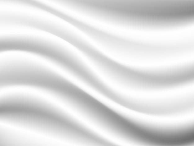 しわ波状の折り目を持つベクトル白いサテン絹のような布生地テキスタイルドレープ。抽象的な背景
