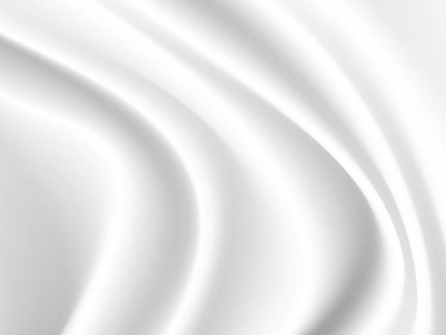 Векторная белая атласная шелковистая ткань ткань драпировка с волнистыми складками. абстрактный фон