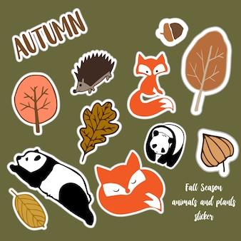Осенняя наклейка серии животных для украшения