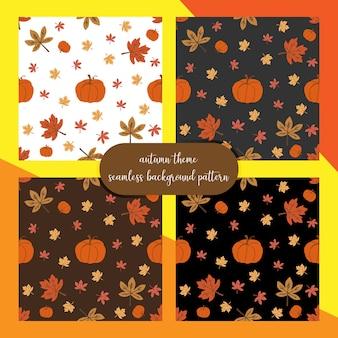 秋の葉とカボチャのシームレスな背景パターン