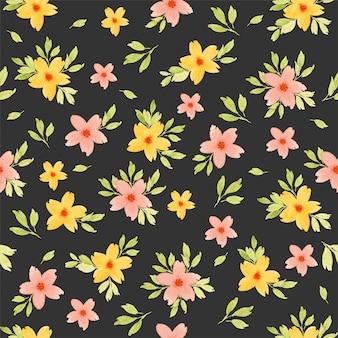 水彩のシームレスな花柄