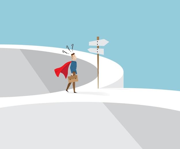 赤い岬とブリーフケースで手を立てて、交差道路と道路標識で混乱しているビジネスマン