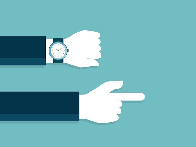 Рука и смотреть с опозданием и указывая
