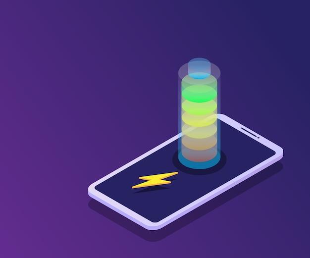 充電器アイソメトリック搭載のスマートフォン