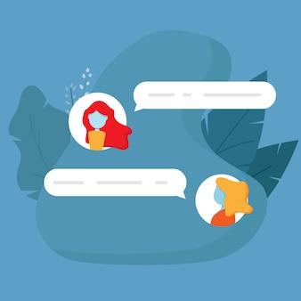 チャット会話メッセージフラットデザインのベクトルの背景のイラスト
