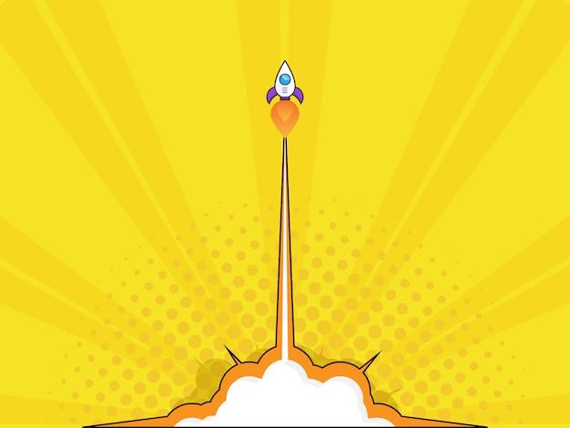 ロケット打ち上げのイラスト起動コンセプトポップアート、漫画本のベクトルの背景