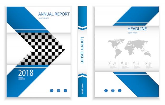 モダンなディープブルーのビジネスパンフレットのデザインテンプレートのイラスト