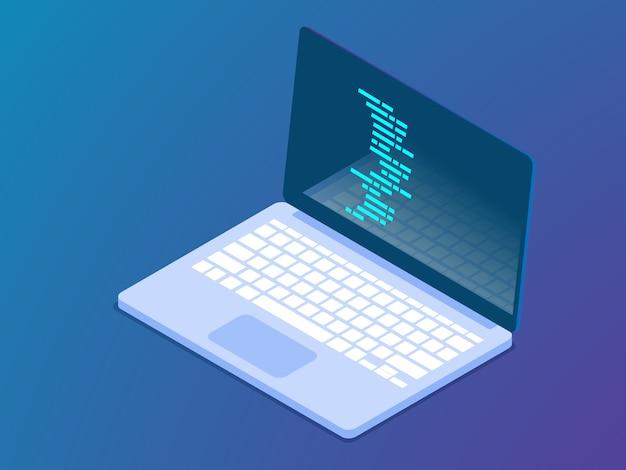 Кодирование с ноутбуком вектор изометрии