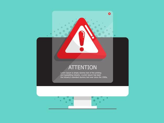 Компьютер с вниманием, предупреждающий знак