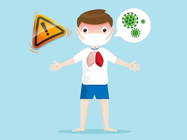 マスクを持つコロナウイルス少年に対する注意