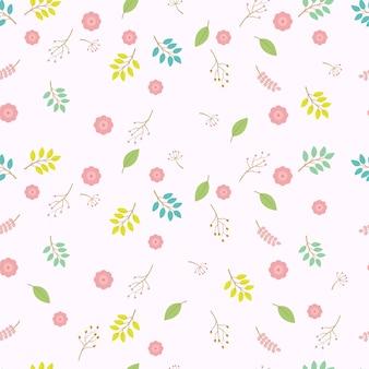 パステルカラーの花のシームレスなベクトルパターン