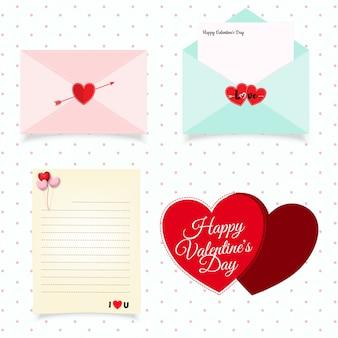 バレンタインデーの封筒のシンボルのセット