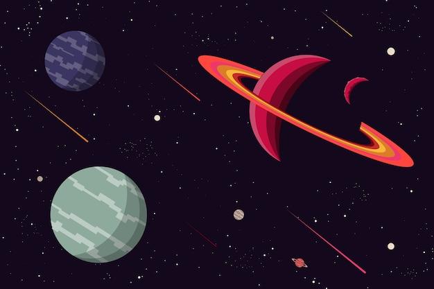 惑星宇宙背景フラットデザイン。ベクトルとイラスト
