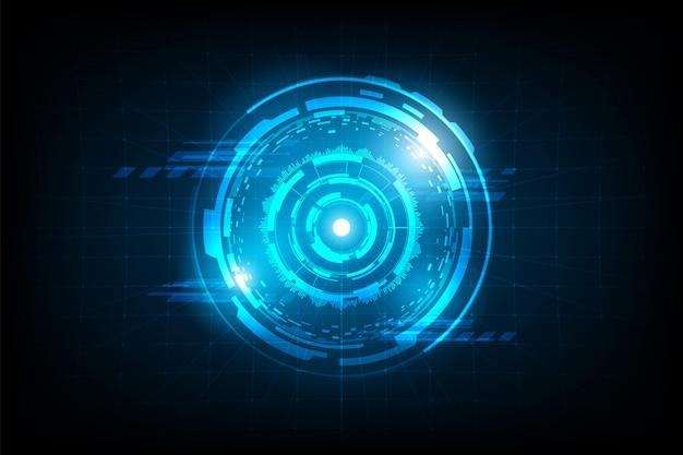 グリッドの背景にフレア光と未来的な抽象円接続