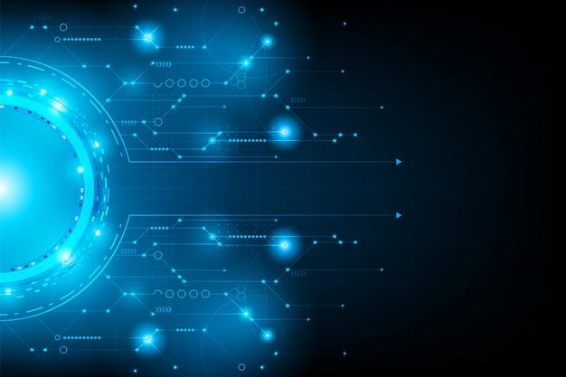 抽象的な未来的な回路。接続ライン回路
