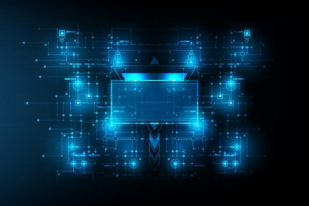 中心のスペースフレームと抽象的な未来的な回路接続ボード。