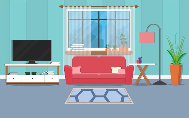 家具と窓付きのインテリアリビングルーム。