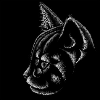 猫のチョークスタイルで手描きイラスト