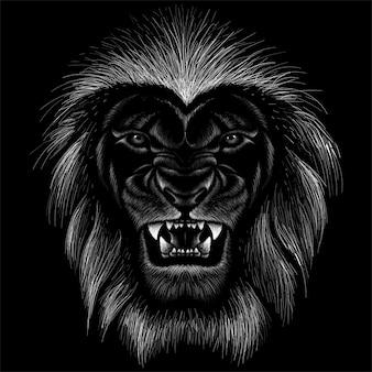 ライオンのチョークスタイルの手描きイラスト