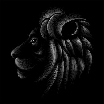 Ручной обращается иллюстрации в меловой стиле льва