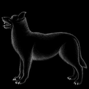Ручной обращается иллюстрации в меловом стиле собаки
