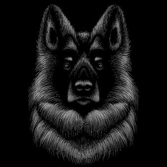 犬のチョークスタイルで手描きイラスト