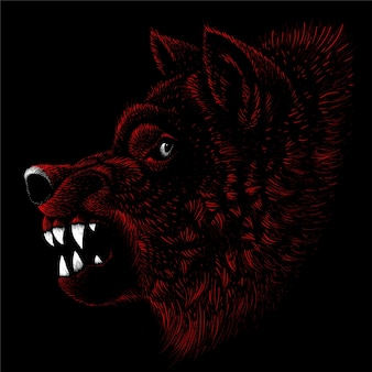 Собака или волк для татуировки или дизайна футболки или верхней одежды. симпатичная собака или волк