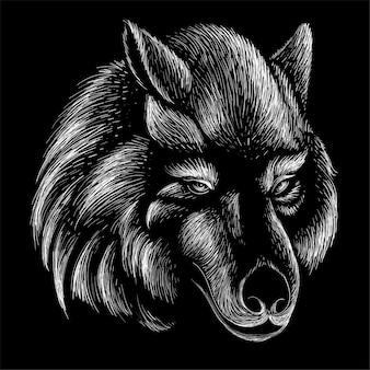 手描きの犬の頭