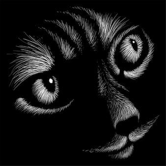 猫の頭のデッサンイラスト