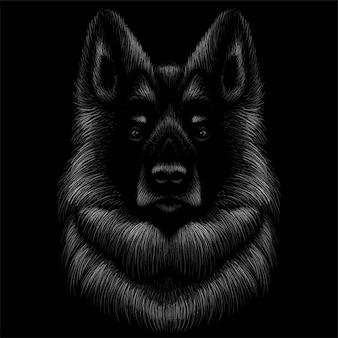 犬の頭のデッサンイラスト