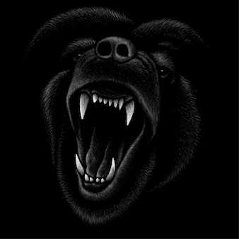 怒っている犬の頭のデッサンイラスト
