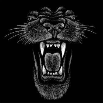 Ручной обращается иллюстрации в меловом стиле пантеры