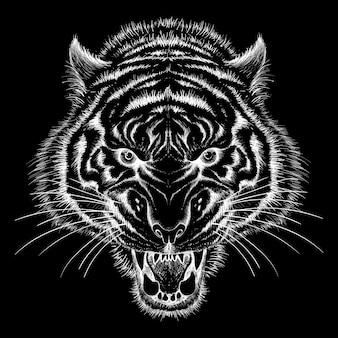 虎のチョークスタイルの手描きイラスト