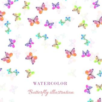 蝶と水彩画のイラスト