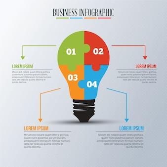 Инфографический шаблон с головоломкой для лампочек